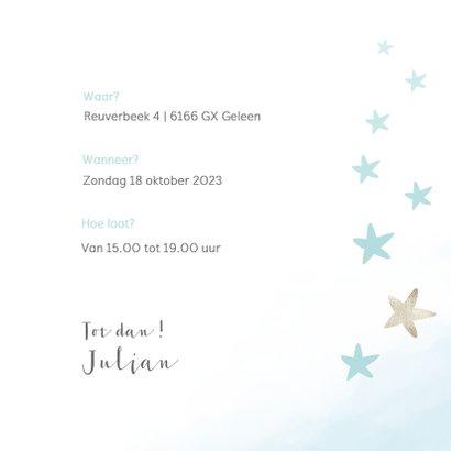 Waterverf kraamfeest uitnodiging met sterren en veertjes 3