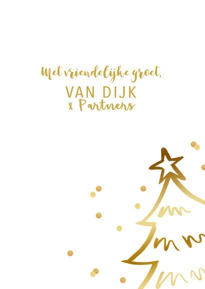 Zakelijke kerstkaart kerstboom confetti goudlook 3