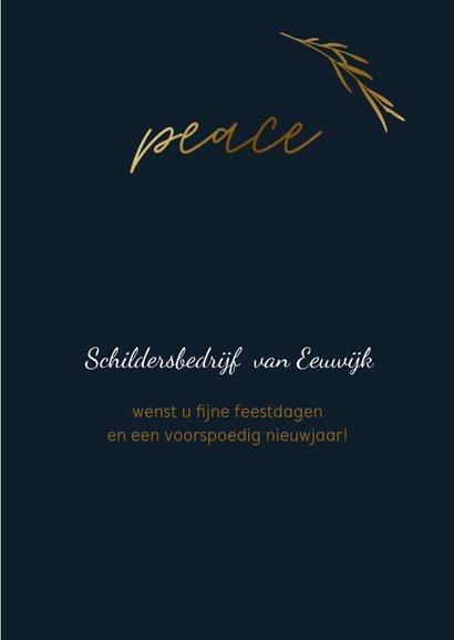Zakelijke kerstkaart met peace en goudlook takje 3