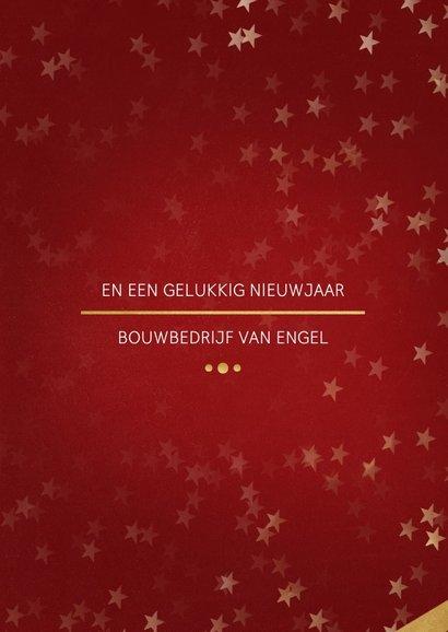 Zakelijke kerstkaart rood met foto en goud 3