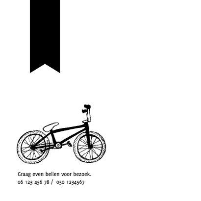 Zwartwit geboortekaartje fietsje 2