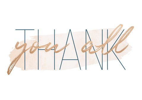 Bedankkaart 'Thank you all' met goudlook en waterverf 2