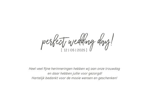 Bedankkaart trouwen chique met foto's 3