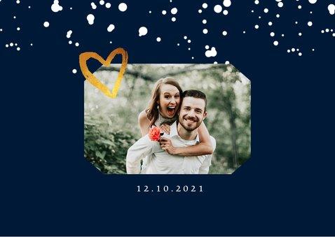 Bedankkaartje huwelijk stijlvol met goud en eigen foto 2