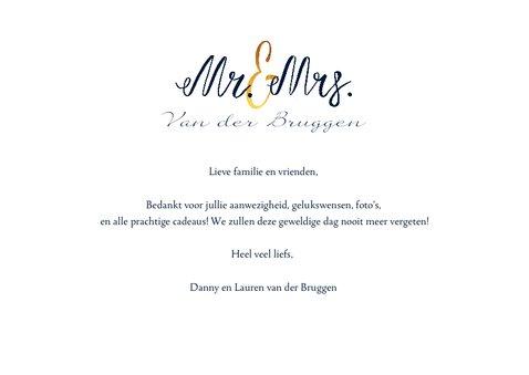 Bedankkaartje huwelijk stijlvol met goud en eigen foto 3