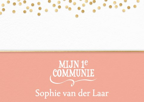 Communiekaart confetti met mooie foto 2