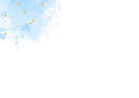 Felicitatie geboorte aquarel hartjes lichtblauw 2