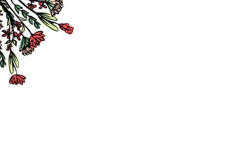 Felicitatie huis met plantjes en bloemen 2