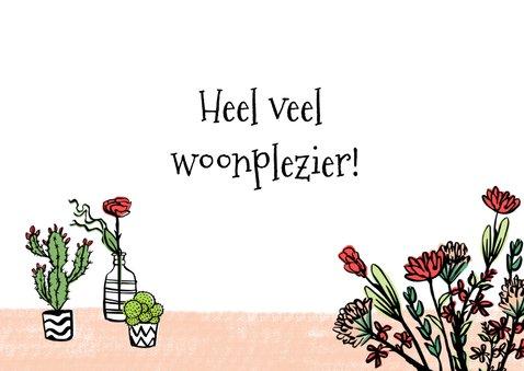 Felicitatie huis met plantjes en bloemen 3