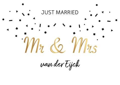 Felicitatie huwelijk mr & mrs goud 2