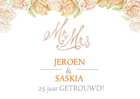 Felicitatie jubileum oranje roos 2