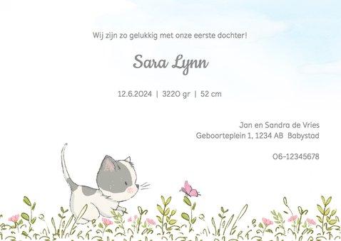 Geboortekaart meisje,  met kitten en ballonnen 3