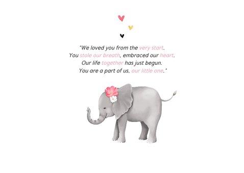 Geboortekaartje adoptie met lief olifantje voor een meisje  2