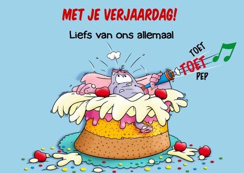 Grappige verjaardagkaart met olifant springt in taart 3