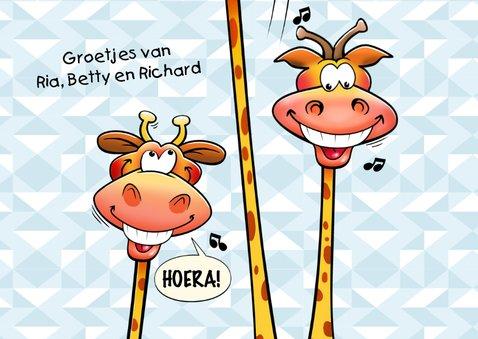 Grappige verjaardagskaart giraf in envelop surprise! 3