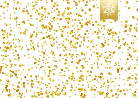 Hippe enkele kerstkaart met grote foto en goud-wit confetti 2