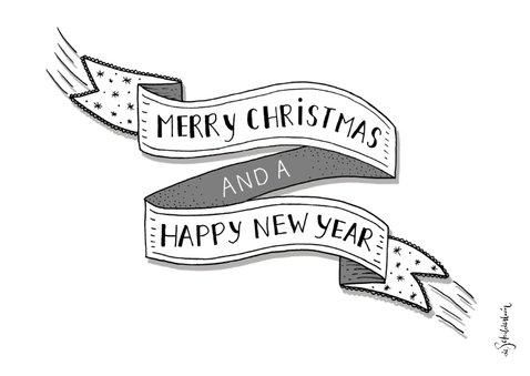 Kerst banner zwart-wit liggend  2