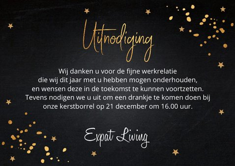 Kerstborrel uitnodiging gouden confetti krijtbord  3