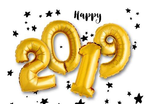 Kerstkaart ballonnen xmas 2019 goud 2