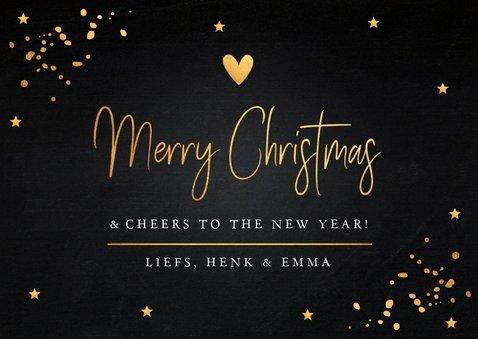 Kerstkaart donker gouden confetti rechthoekig 3