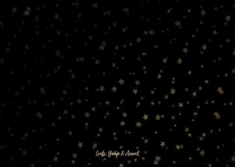 Kerstkaart fotocollage goudlook met sterren 3