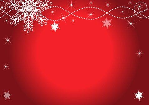 Kerstkaart fotocollage rood sneeuwvlokken rechthoek 2
