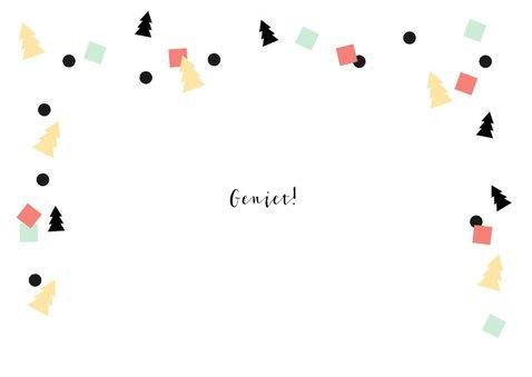 Kerstkaart goud-look Enjoy en confetti 2