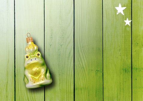 Kerstkaart groen eigen foto kikker met kikker kerstbal 2