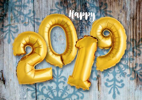 Kerstkaart hout ballonnen goud xmas 2019 2