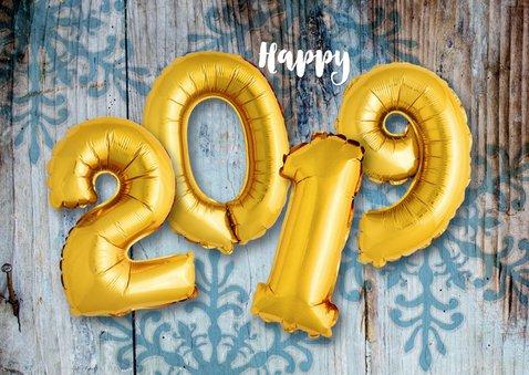 Kerstkaart hout ballonnen xmas goud 2019 2