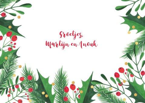 Kerstkaart kersttakken hulst confetti 3