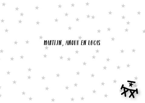 Kerstkaart letterslinger foto zwartwit 3