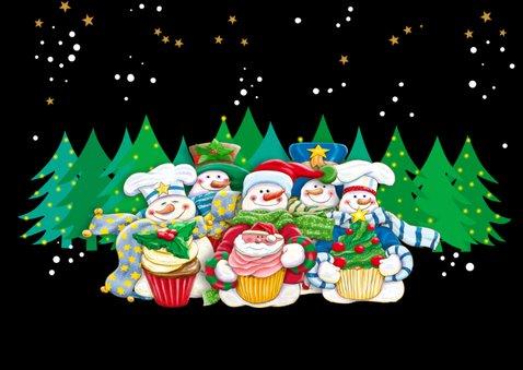 Kerstkaart met kerstmannetjes en tekst 2