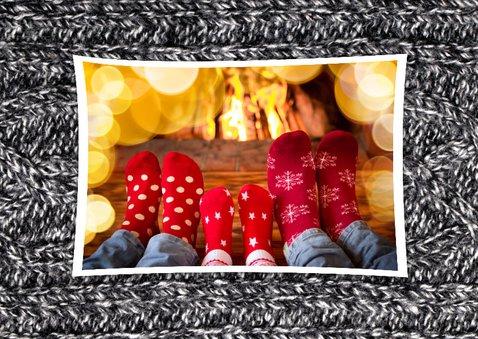 Kerstkaart grappig Sending Warm Wishes breiwerk 2