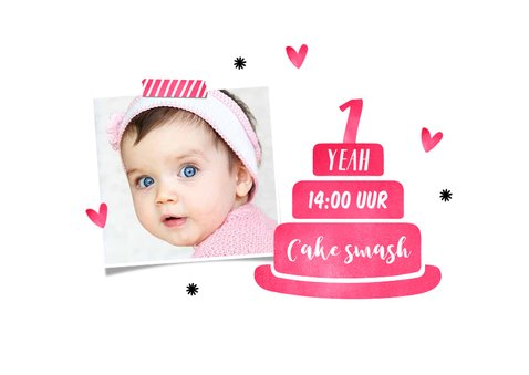 Kinderfeestje eerste verjaardag uitnodiging hip roze 2