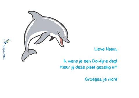Kinderkaart Dolfijn met kleurplaat - A 2