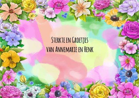 Kleurrijke beterschapskaart met diverse bloemen 3