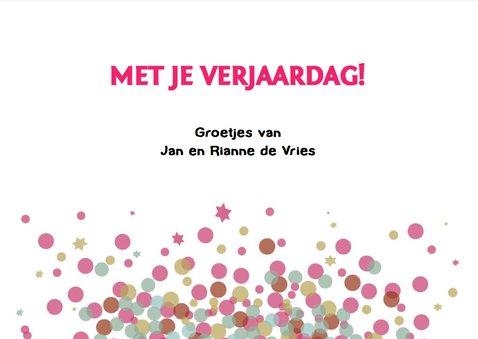 Leuke verjaardagskaart met confetti voor vrouw of meisje 3