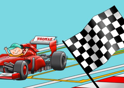 Leuke verjaardagskaart met raceauto Formule 1 3