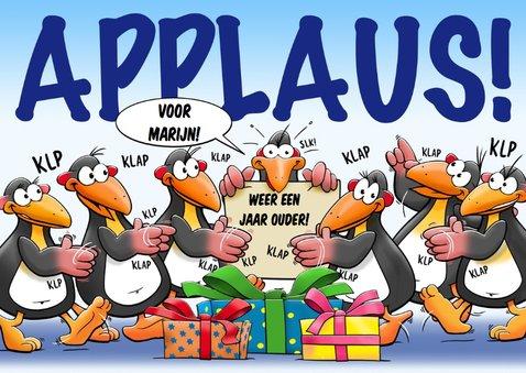 Leuke verjaardagskaart pinguïns die kadootjes meenemen 3