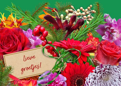 Mooie kerstkaart met boeket diverse bloemen en kaartje 3