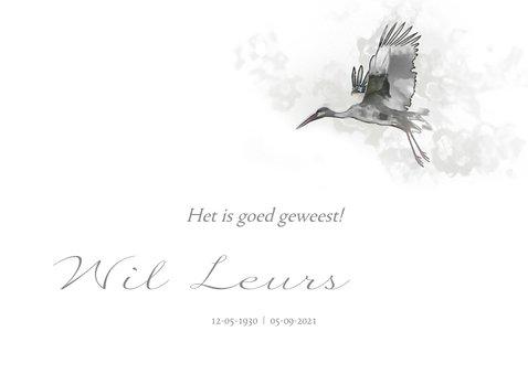 Rouwkaart vogel boven landschap in waterverf 2