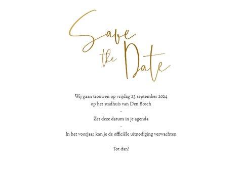 Save the datekaart met eigen foto en gouden tekst en hartje 3
