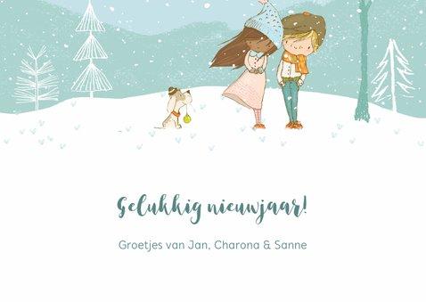 Sneeuwlandschap meisje/jongen met hond 3