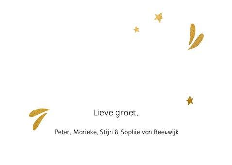 Stijlvolle kerstkaart met goudlook letters en sterretjes 3