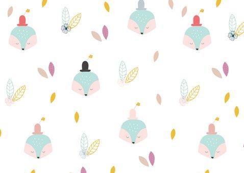 Trendy verjaardagskaart vosje met hoedje en bloem 2