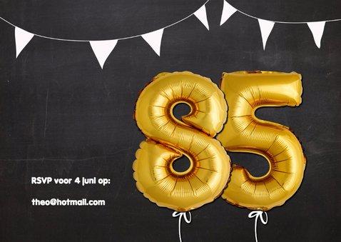 Uitnodiging 85 jaar ballonnen goud 2