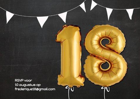 Uitnodiging 18 Ballon goud op krijtbord 2