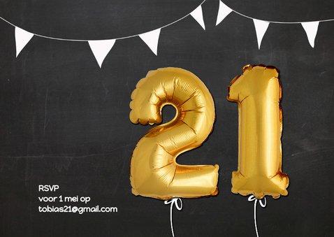 Uitnodiging Ballonnen goud 21 2
