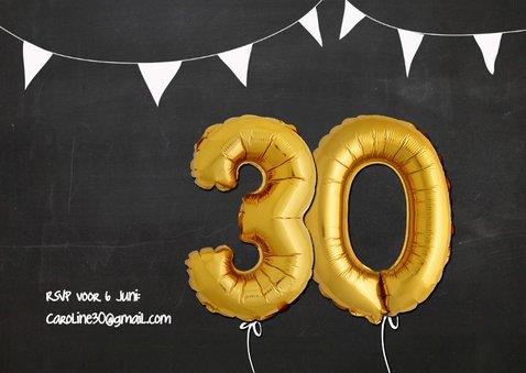 Uitnodiging Ballonnen goud 30 2